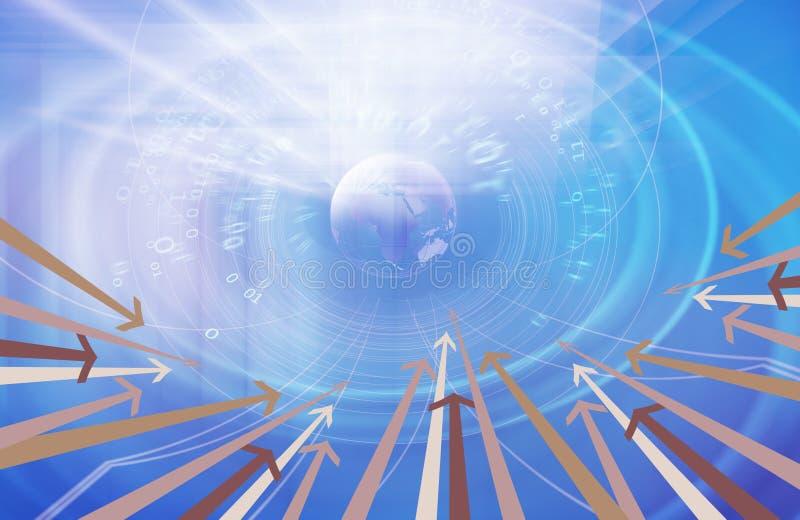 Grafischer digitaler binär Code-Hintergrund mit Erdkugel und mehrfacher Pfeilkonzept-Reihe lizenzfreie abbildung