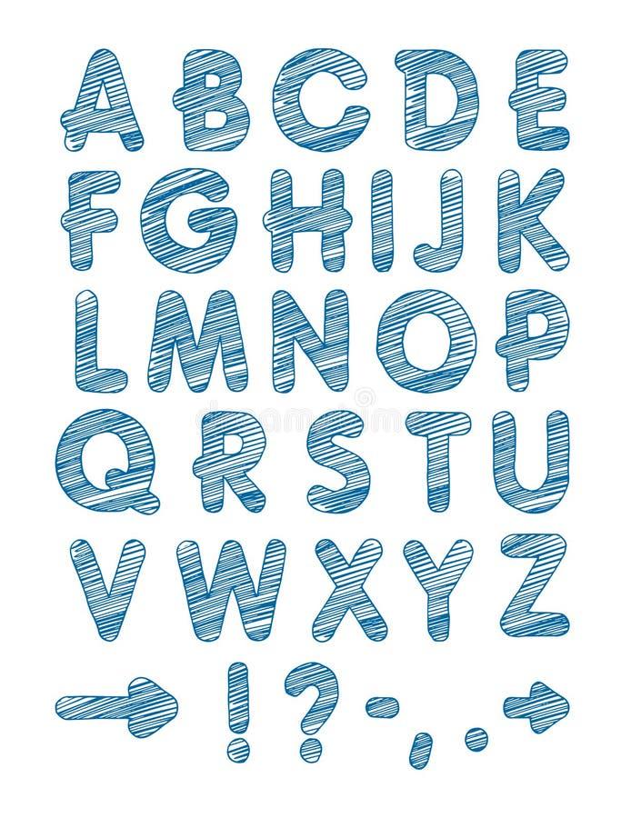 Grafischer Guss Handgemachter GROTESK-Guss, dünne Linien Hand gezeichnetes Kalligraphiebeschriftungsalphabet Auch im corel abgeho vektor abbildung
