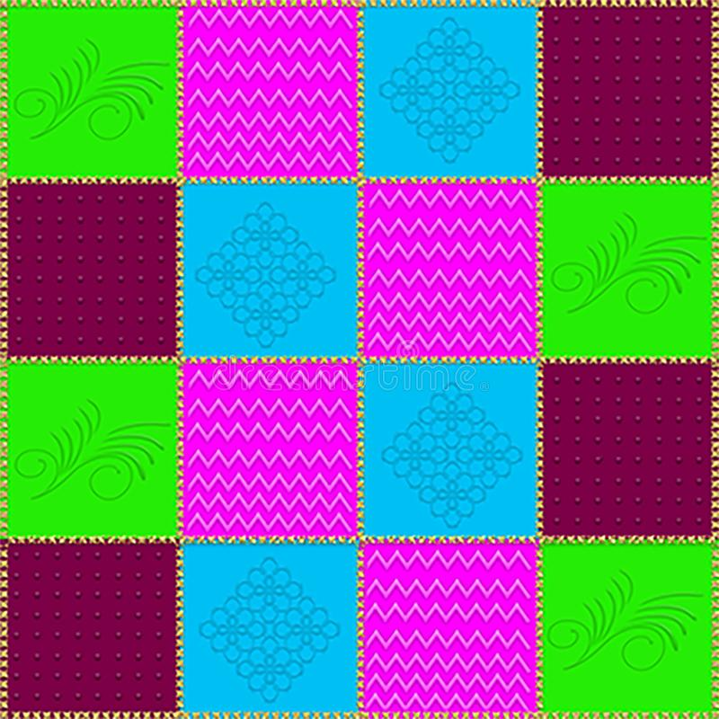 Grafischer Hintergrund der Patchwork-Steppdecke in 4 Farben mit Golddem nähen lizenzfreie abbildung