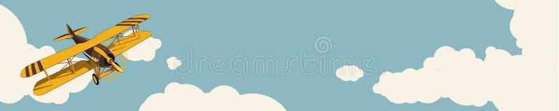 Grafischer Hintergrund Gelbes flaches Fliegen über Himmel mit Wolken im Weinlesefarbestylization Horizontaler Netzfahnenplan lizenzfreie abbildung
