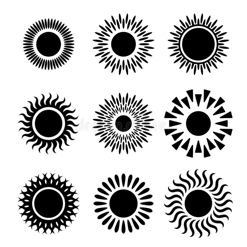 Grafischer Ikonensatz der Sonnen stock abbildung