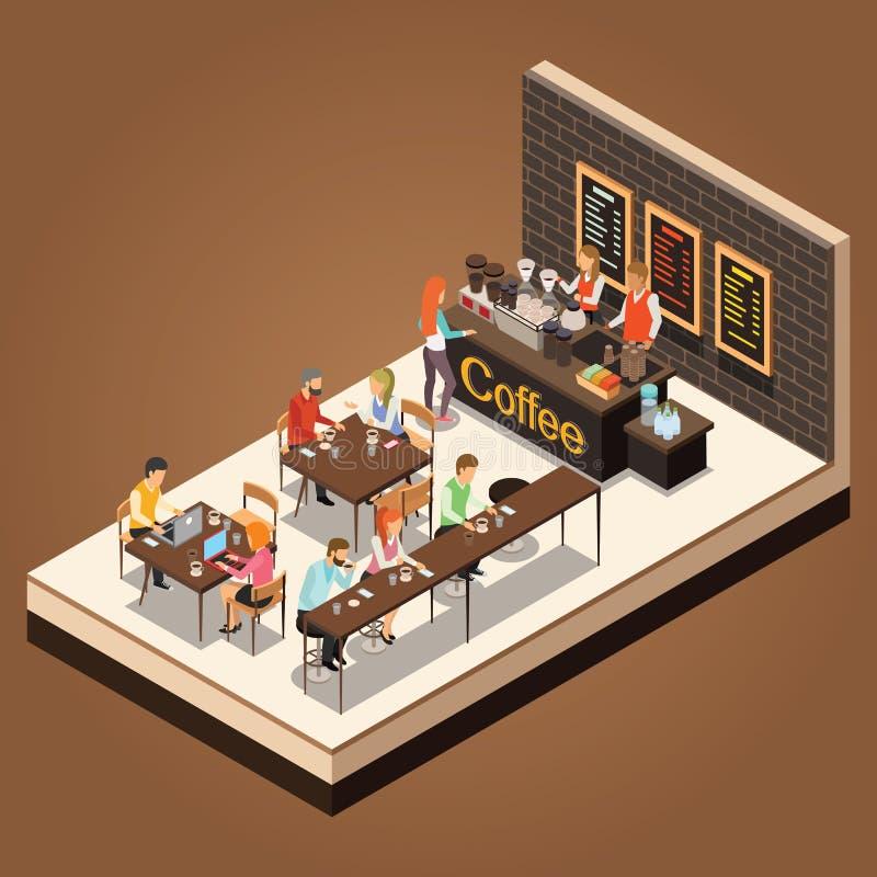 Grafischer isometrischer Kaffeestubevektor der Informationen lizenzfreie abbildung