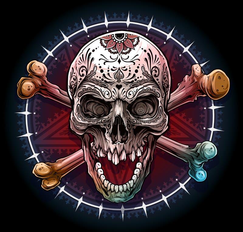 Grafischer menschlicher Schädel mit Pentagramstern lizenzfreie abbildung