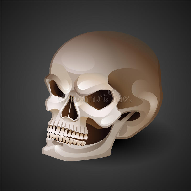 Grafischer Schädel mit ängstlichem Lächeln stock abbildung