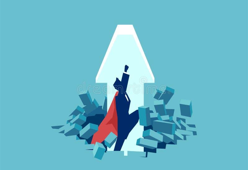 Grafischer Superheld, der oben Wand und Fliegen bricht vektor abbildung
