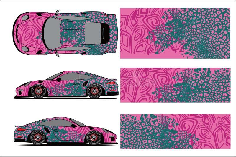 Grafischer Vektor des Autos, abstrakte laufende Form mit modernem Rennentwurf für Fahrzeugvinylverpackung stock abbildung