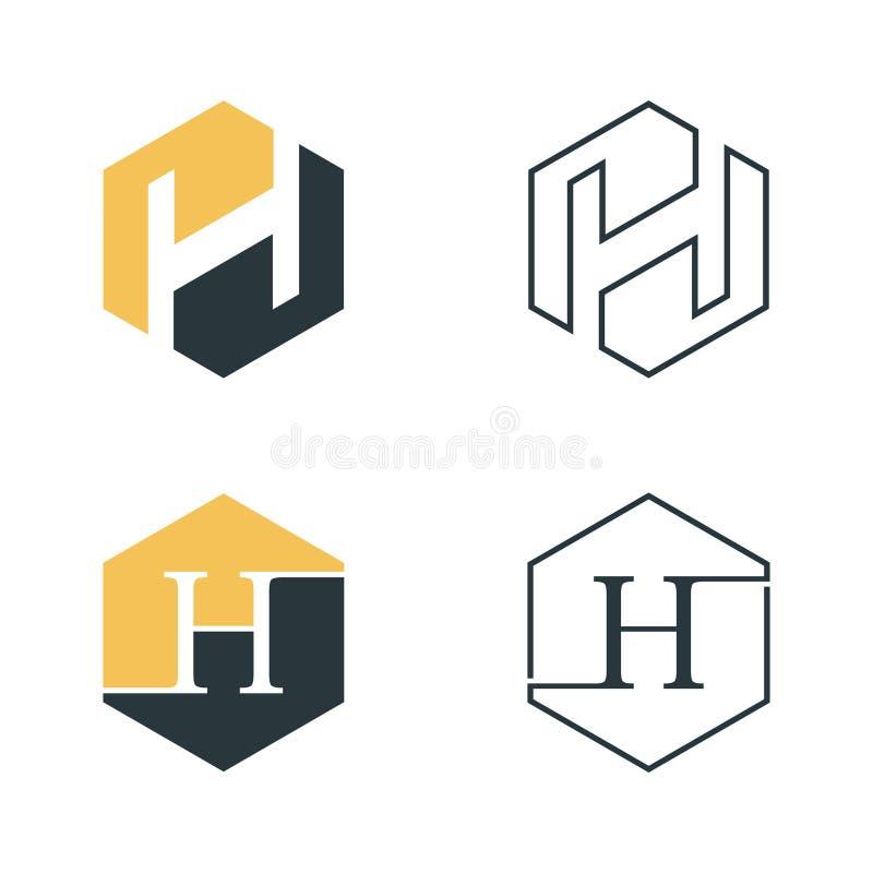 Grafischer Vektor des Hexagonbuchstaben H für Netzikone oder Smartphone-APP lizenzfreie abbildung