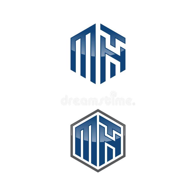 Grafischer Vektor des Hexagonbuchstaben MTH für Netzikone oder Smartphone-APP lizenzfreie abbildung