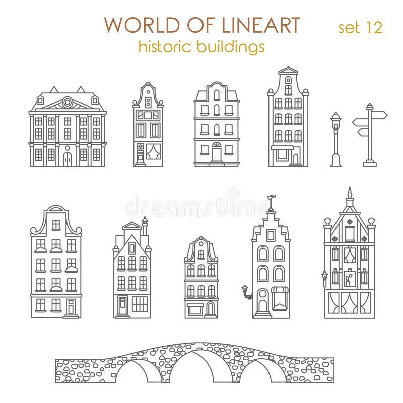 Grafischer Vektor lineart historische Altbauten der Architektur lizenzfreie abbildung