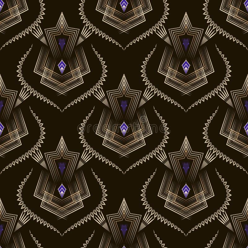 Grafischer Verzierungshintergrund des nahtlosen Art- Decomodernen Musters VE lizenzfreie abbildung