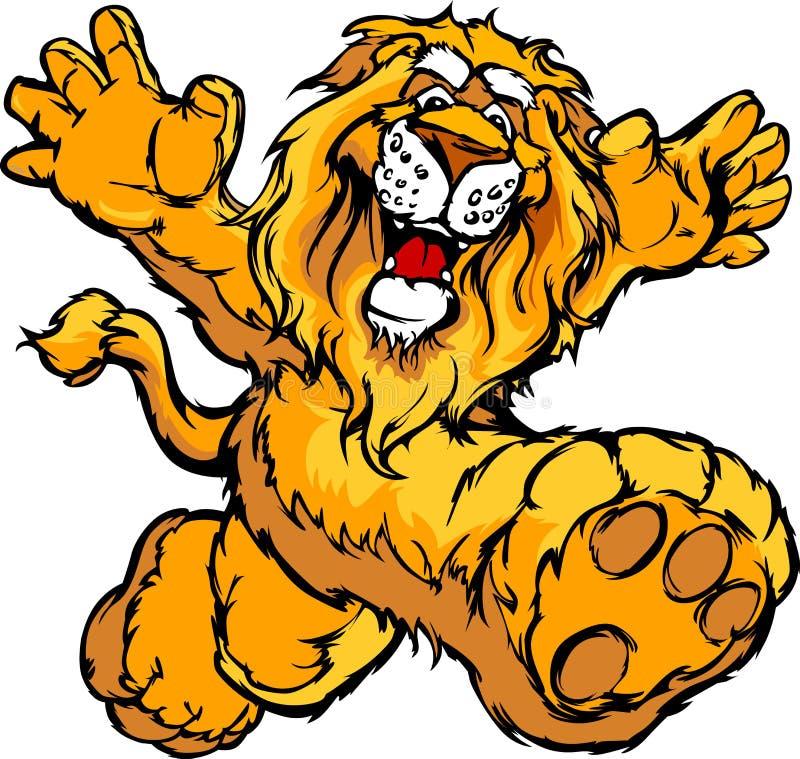 Grafisches Bild eines glücklichen laufenden Löwe-Maskottchens stock abbildung