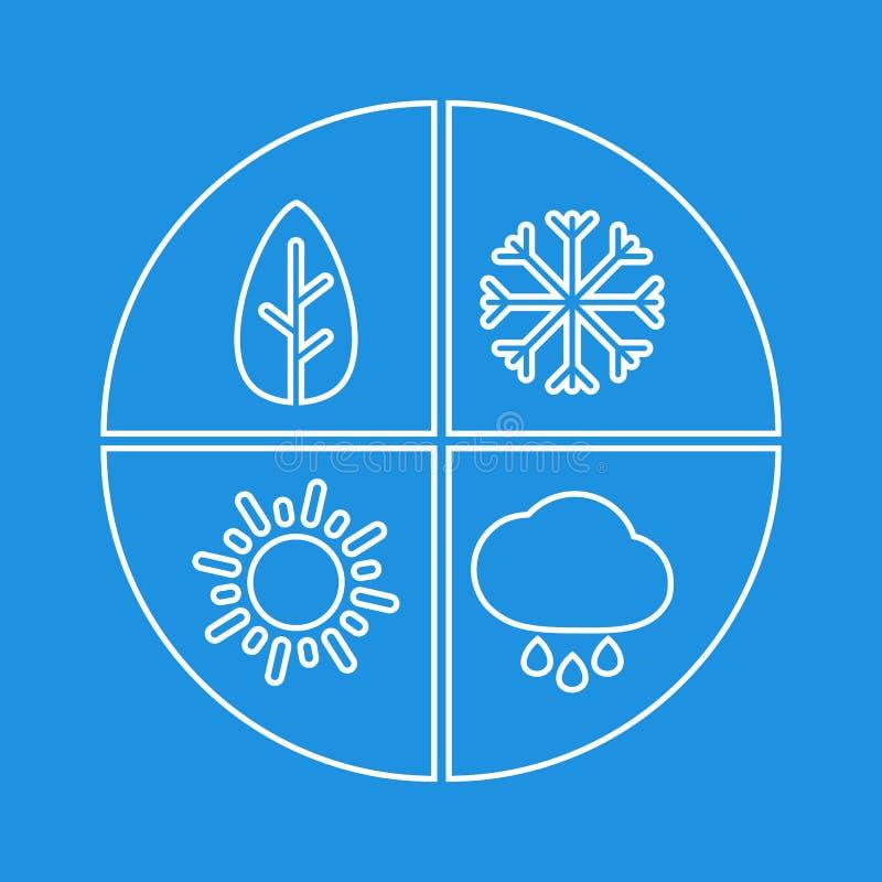 Grafisches einfaches Zeichen mit vier Jahreszeiten Weißes flaches Vektorikone isloate stock abbildung