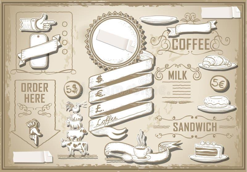 Grafisches Element der Weinlese für Barkarte stock abbildung