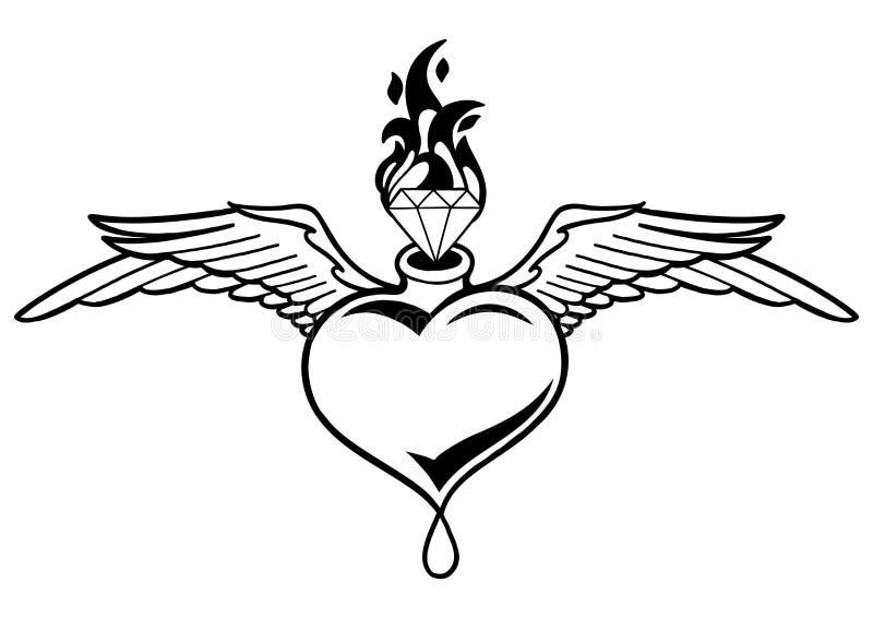 Grafisches geflügeltes Herz mit loderndem Edelstein lizenzfreie abbildung