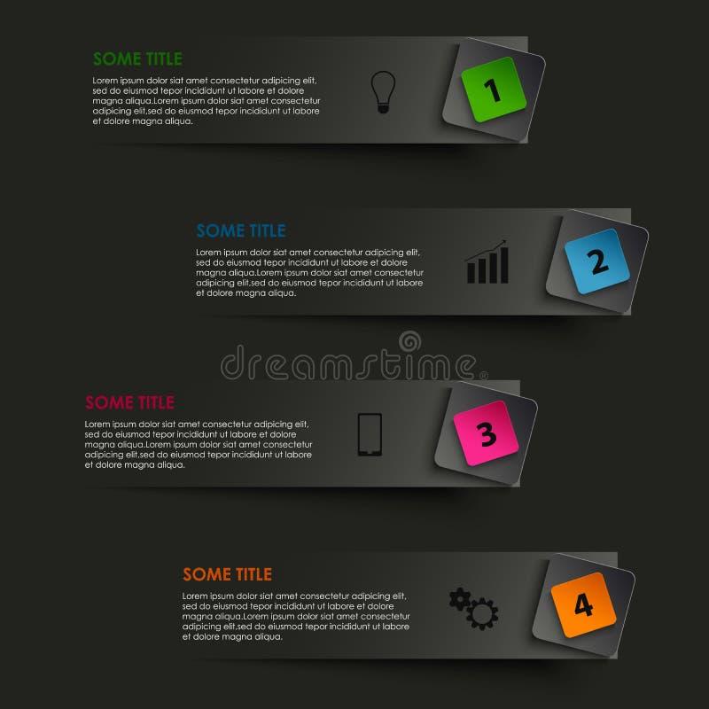 Grafisches gestreiftes der Informationen mit farbigem Zeiger auf schwarzem Hintergrund lizenzfreie abbildung