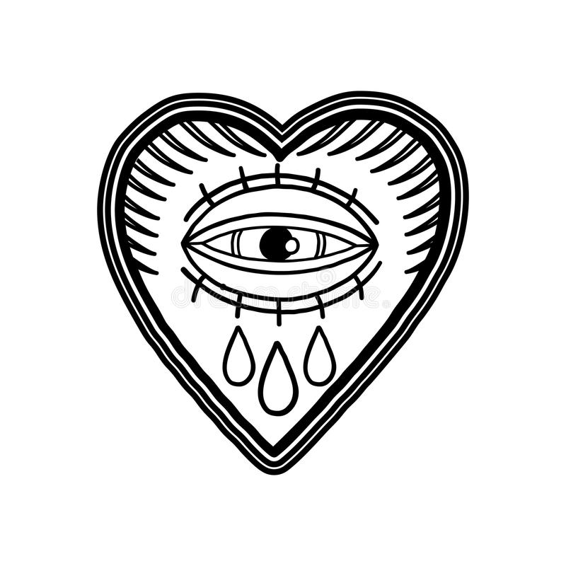 Grafisches loderndes Herz mit Triefauge vektor abbildung