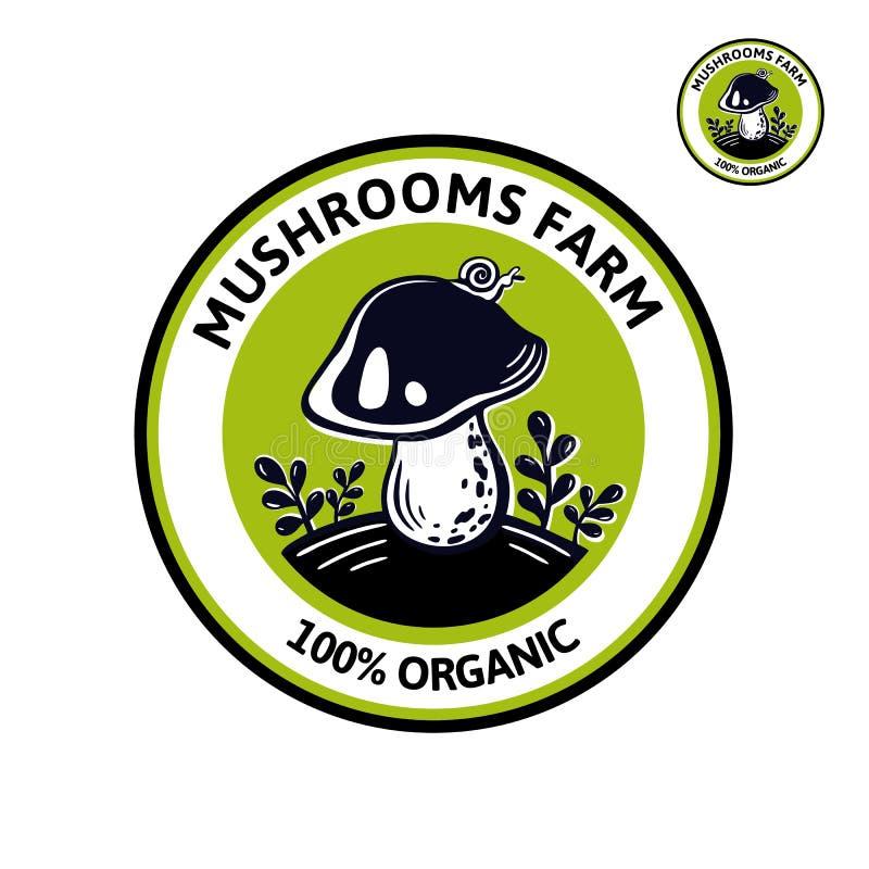 Grafisches Logo für edibles Pilz der Naturkost stock abbildung