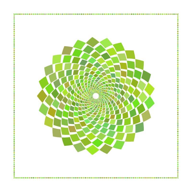 Grafisches Netz der Raute im konzentrischen Kreis mit einem offenen Kern Grafische Auslegung Auch im corel abgehobenen Betrag Nie stock abbildung