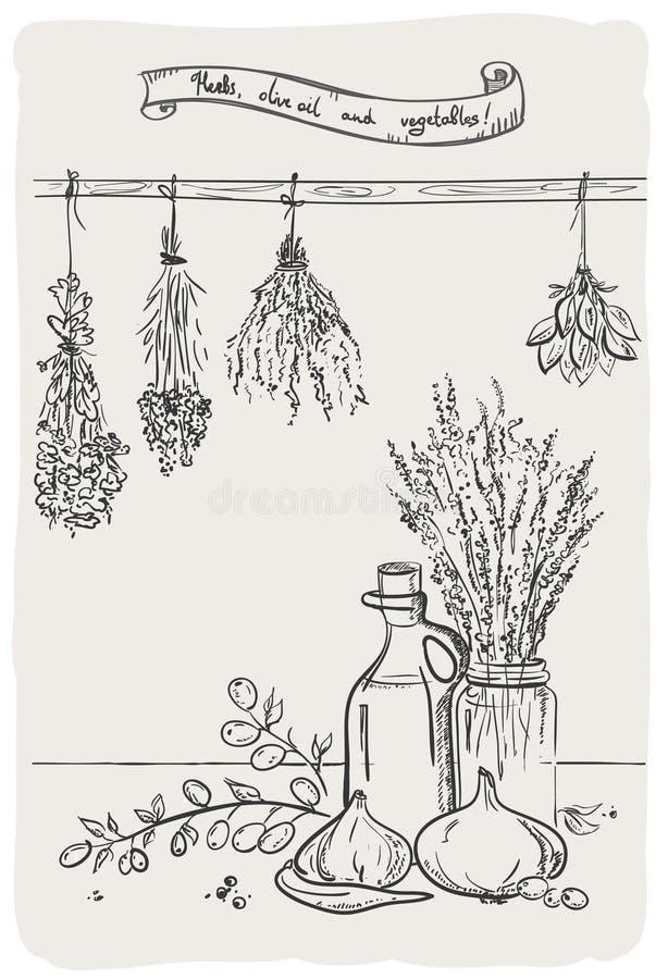 Grafisches Stillleben mit Kräutern und Olivenöl. stock abbildung