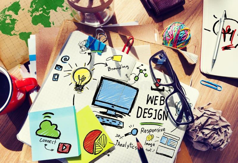 Grafisches Webdesign Webseiten-Konzept zufriedene Kreativitäts-Digital lizenzfreie stockfotos