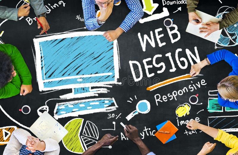 Grafisches Webdesign Webseiten-Konzept zufriedene Kreativitäts-Digital lizenzfreie stockbilder