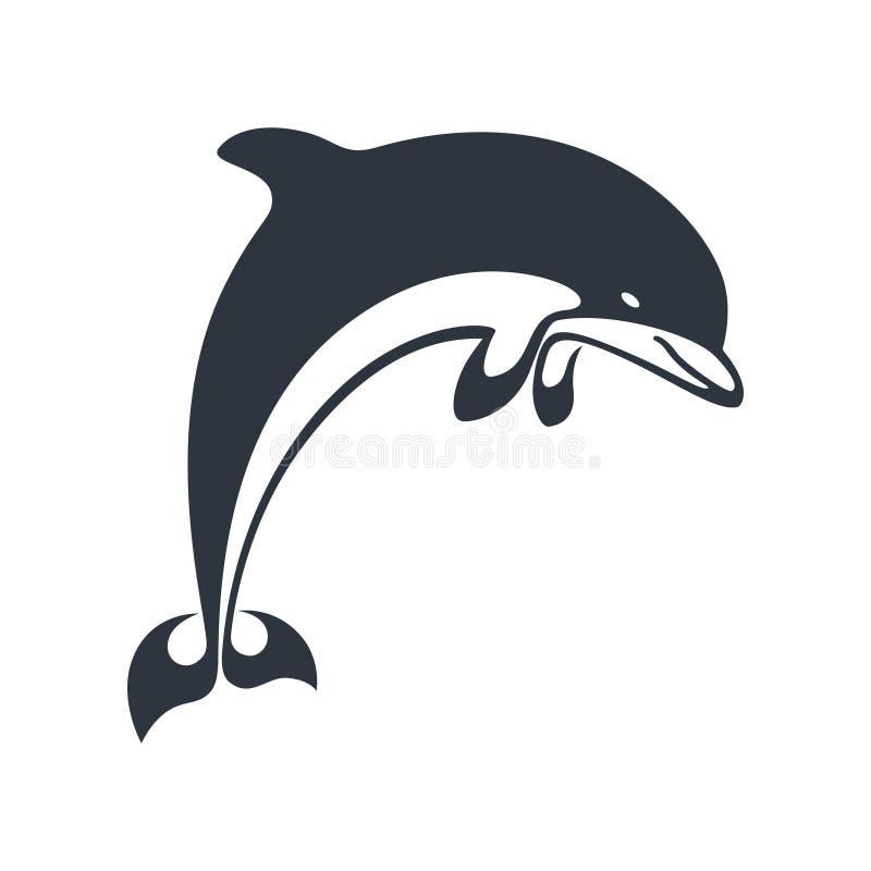 Grafisches Zeichen des Delphins als sealife Symbol vektor abbildung