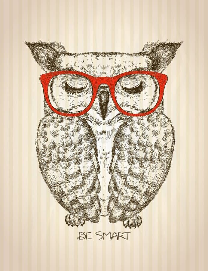 Grafisk affisch för tappning med iklädda röda exponeringsglas för hipsteruggla royaltyfri illustrationer