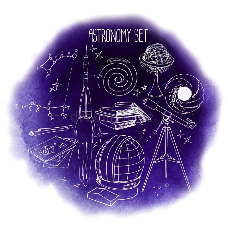 Grafisk astronomiuppsättning stock illustrationer