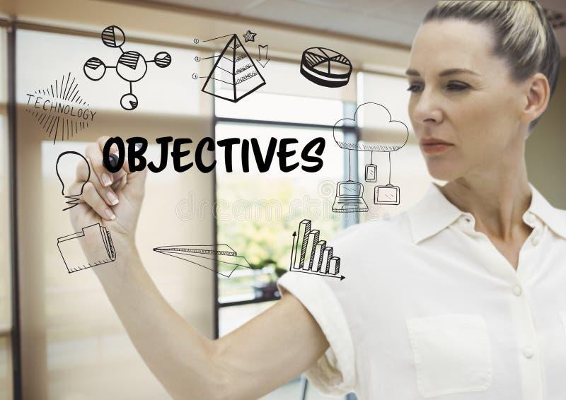 Grafisk attraktion för mål av en affärskvinna i hennes kontor royaltyfri illustrationer