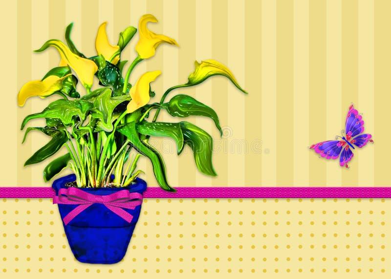 Grafisk bakgrund av en ljus gul Calla Lilly Plant i blå behållare royaltyfri illustrationer