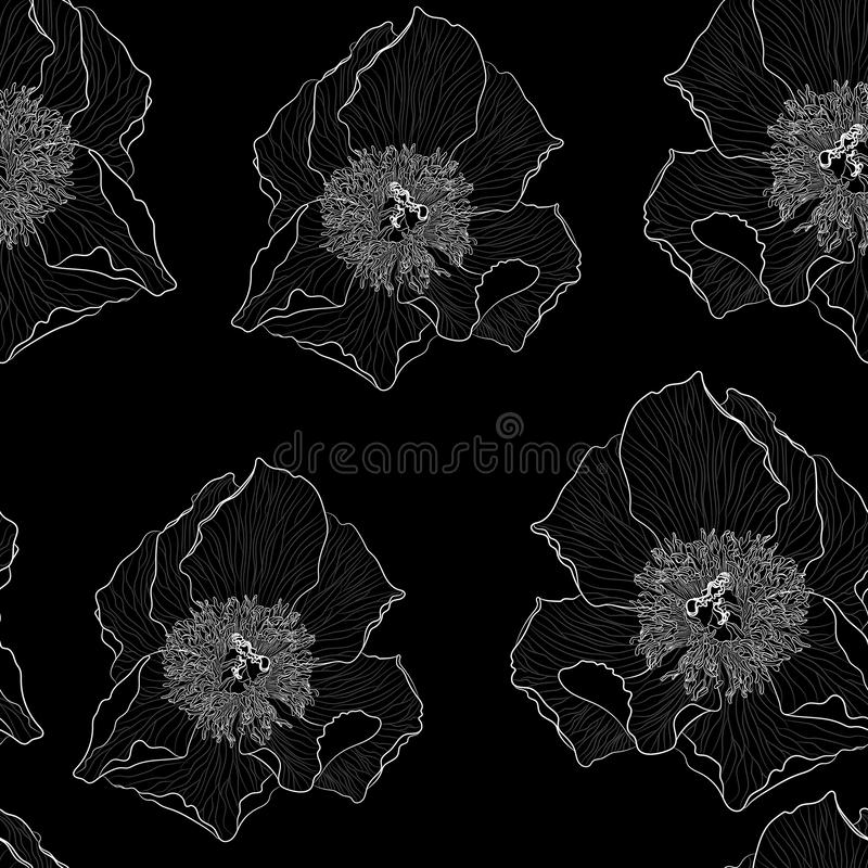 Grafisk bakgrund för svartvita blom- modellblommor Modellrosor och pioner för kontur blom- stock illustrationer