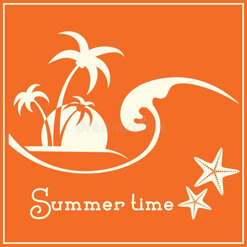 Grafisk bild för sommartid med havsvågen och tropiska palmträd stock illustrationer