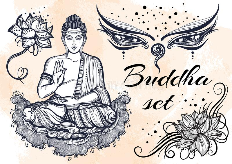 Grafisk Buddhauppsättning för tappning med buddistiska sakrala beståndsdelar Religiöst begrepp Högkvalitativ isolerad vektorkonst stock illustrationer