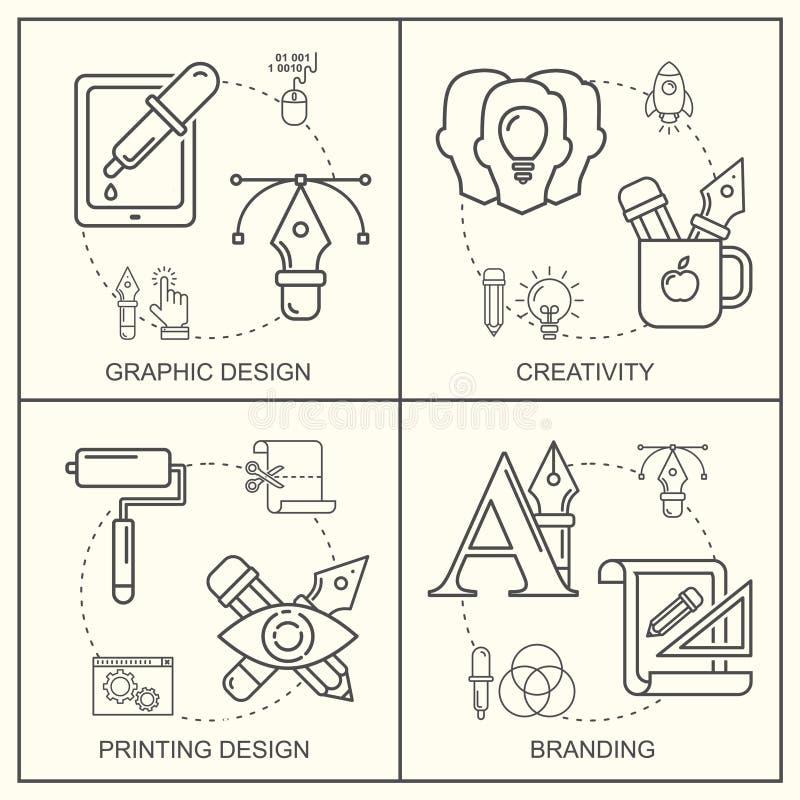 Grafisk desGraphic märkes- yrkemodell med gråa linjära symboler stock illustrationer