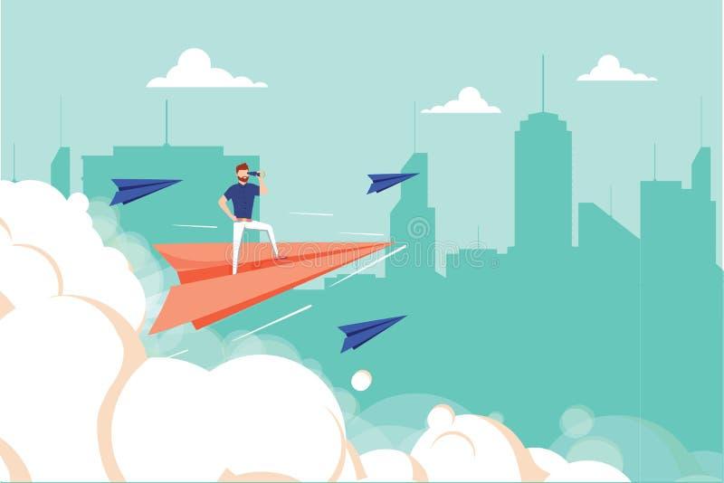 Grafisk design för begrepp av affärsmannen på flygplanet som ser i framtid med kikaren mot cityscape Unik affär stock illustrationer