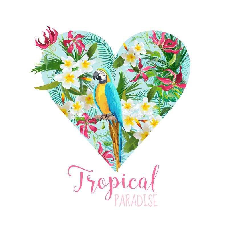 Grafisk design för blom- hjärta - tropiska blommor och papegojafågel stock illustrationer