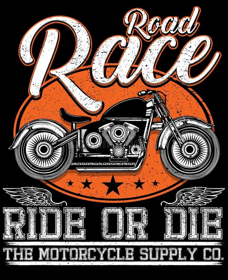 Grafisk design för motorcykelutslagsplats stock illustrationer