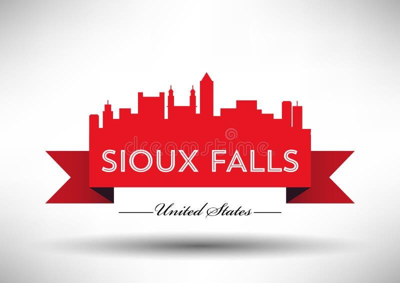 Grafisk design för vektor av Sioux Falls City Skyline vektor illustrationer