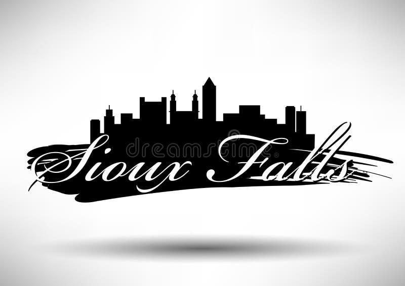 Grafisk design för vektor av Sioux Falls City Skyline royaltyfri illustrationer