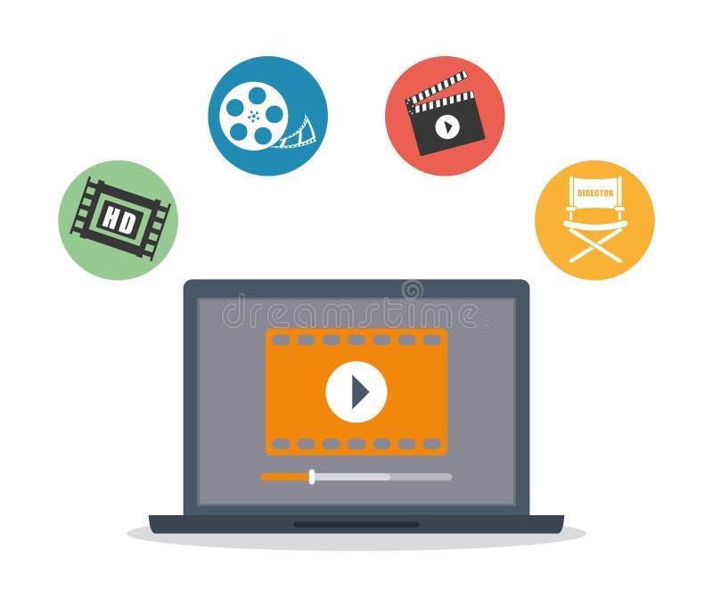 Grafisk design för video marknadsföring, vektorillustration stock illustrationer