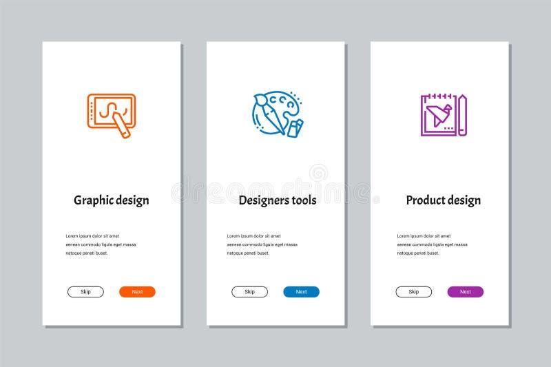 Grafisk design, formgivarehjälpmedel, onboarding skärmar för produktdesign stock illustrationer