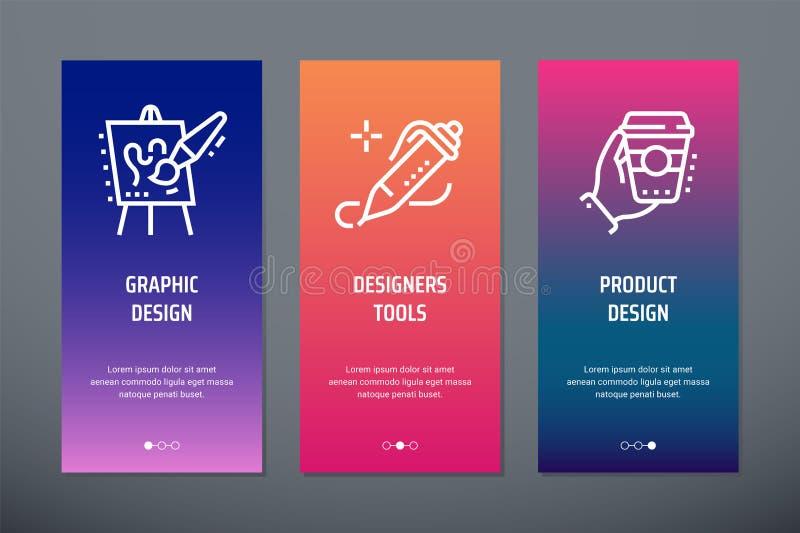 Grafisk design, formgivarehjälpmedel, vertikala kort för produktdesign med starka metaforer vektor illustrationer