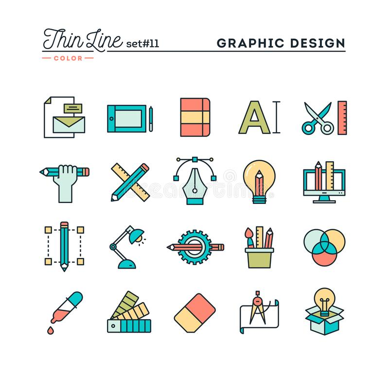 Grafisk design, idérik packe, stationärt, programvara och mer, stock illustrationer