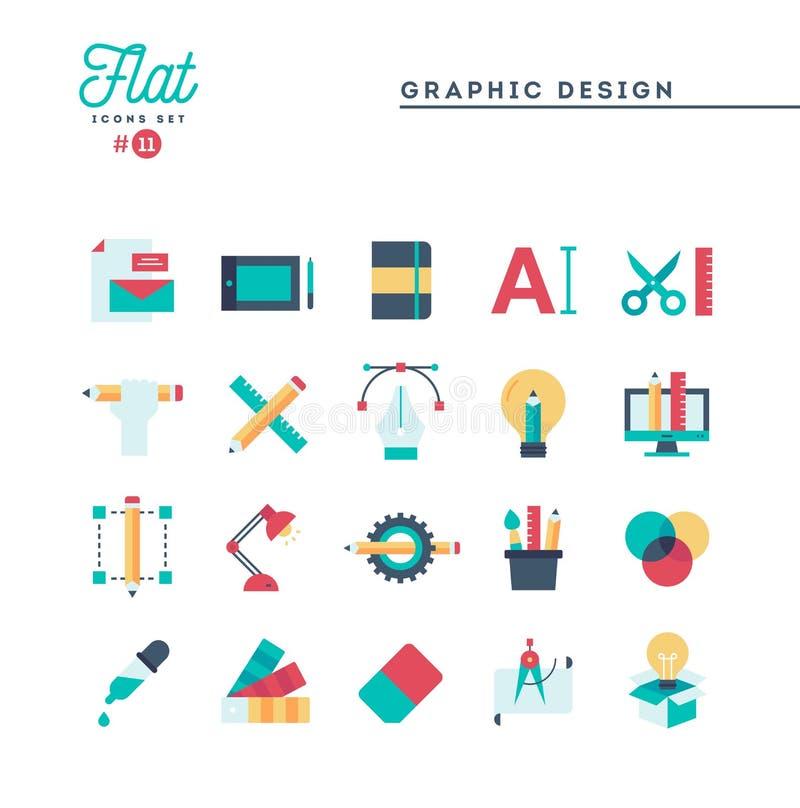 Grafisk design, idérik packe, stationärt, programvara och mer, vektor illustrationer
