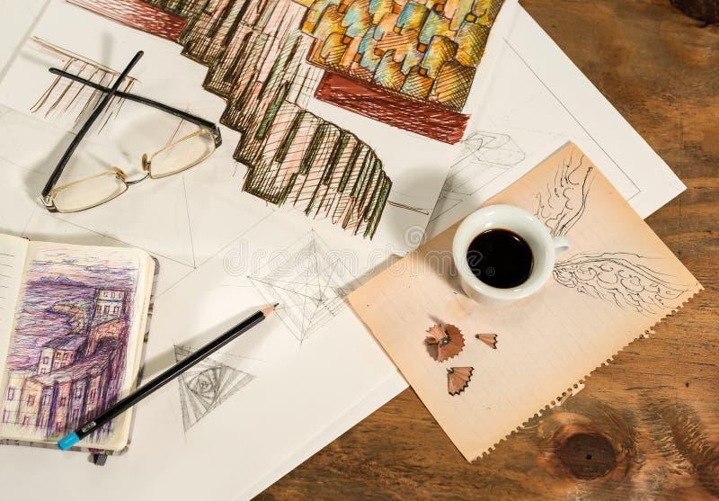 Grafisk design med en flygakopp kaffe royaltyfri bild