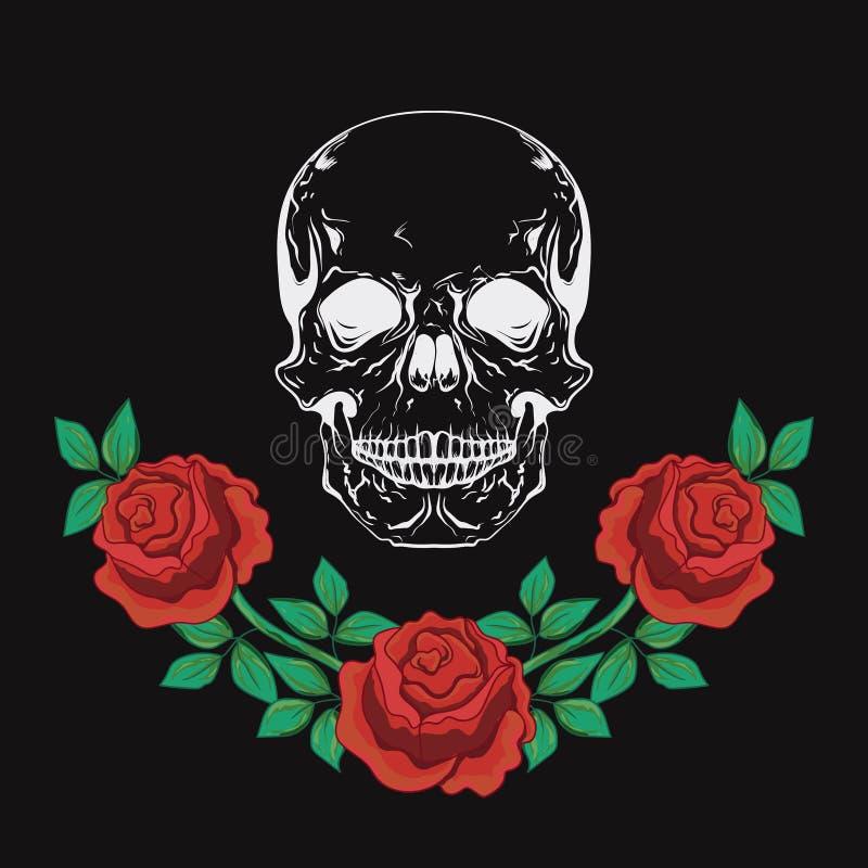 Grafisk design med skalle- och rosvektorillustrationen för t-skjortan, modekläder vektor illustrationer