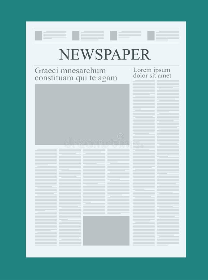 Grafisk designtidningsmall och att markera upp diagram och intygvektoråtlöje av en tom dagstidning vektor illustrationer