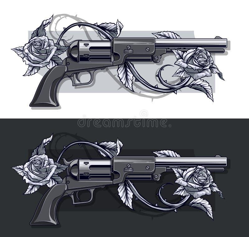 Grafisk detaljerad gammal revolveruppsättning med rosor stock illustrationer