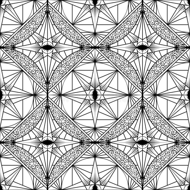 Grafisk etnisk prydnaddesign Sömlös textur för vektor för vägg royaltyfri illustrationer