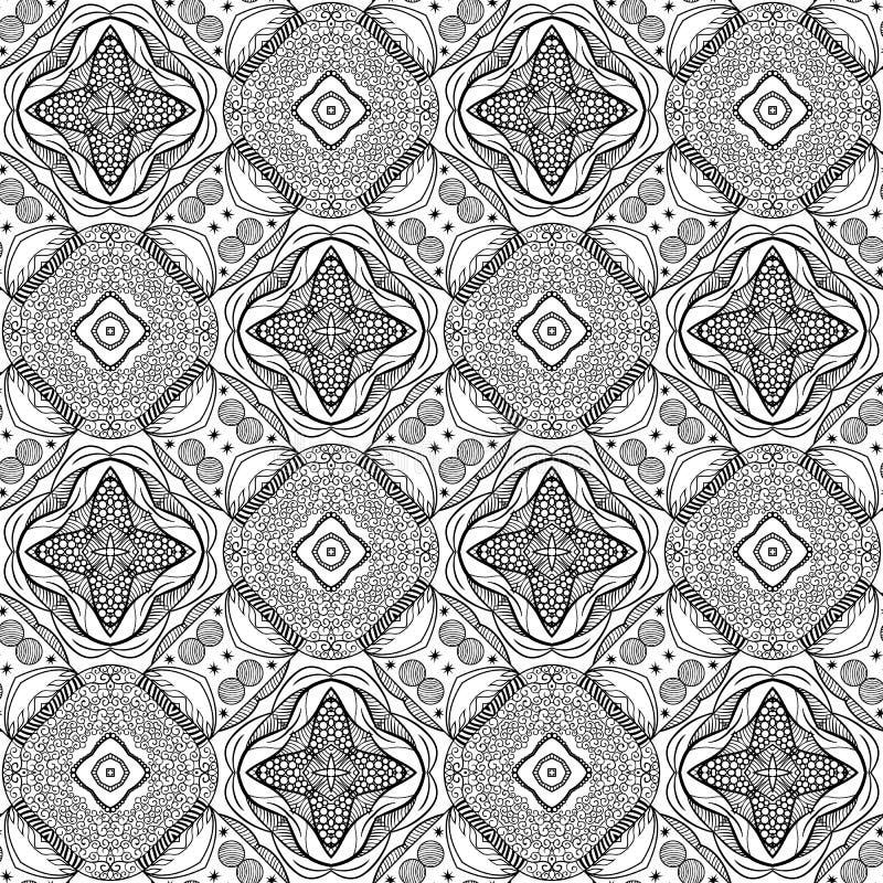 Grafisk etnisk prydnaddesign Sömlös textur för vektor för vägg stock illustrationer